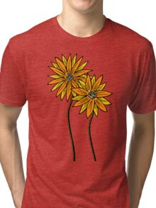 Two Daisies Coloured Orange with Transparent Background Tri-blend T-Shirt