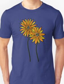 Two Daisies Coloured Orange with Transparent Background Unisex T-Shirt