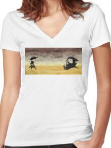 ...And the gunslinger followed Women's Fitted V-Neck T-Shirt