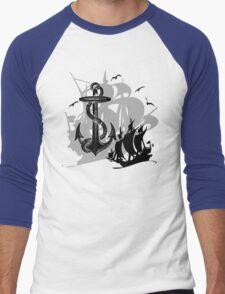 Pirate Ships & Anchor Black Silhouette Men's Baseball ¾ T-Shirt
