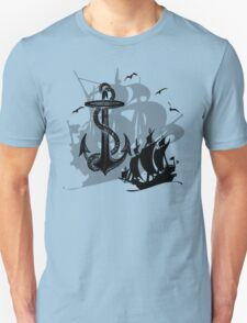 Pirate Ships & Anchor Black Silhouette Unisex T-Shirt