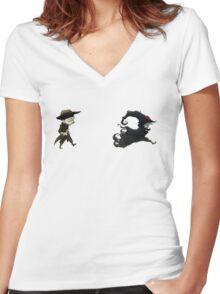 The man in black fled across the desert... Women's Fitted V-Neck T-Shirt