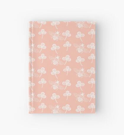 Clover and Bee in White on Peach Hardcover Journal