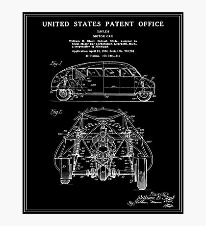 Motor Car Patent - Black Photographic Print