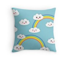 Happy rainbow and clouds Throw Pillow