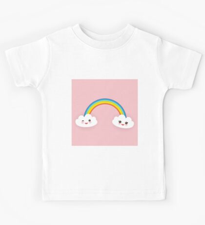 Rainbow and smiling clouds on pink Kids Tee