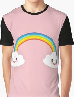 Rainbow and smiling clouds on pink Graphic T-Shirt