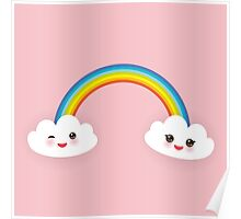 Rainbow and smiling clouds on pink Poster
