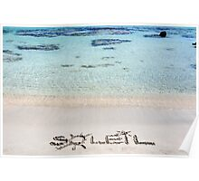 "The Word ""SOLEIL"" Written on Sand on a beautiful beach, with blue waves in background Poster"