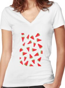 Watercolour Watermelon Women's Fitted V-Neck T-Shirt