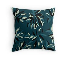 leaves blue green Throw Pillow