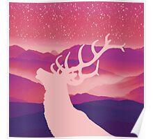 Oh Deer Purple Hills Poster