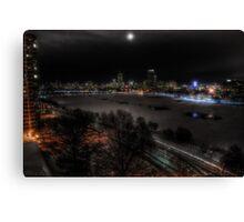boston skyline at night  Canvas Print