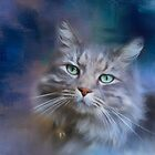 Green Eyes - Cat art by Michelle Wrighton by Michelle Wrighton