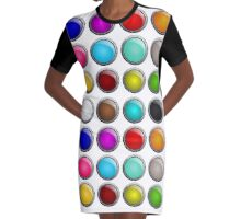 Colorful buttons Graphic T-Shirt Dress