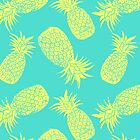 Pineapple Pattern - Turquoise & Lemon by Tracie Andrews