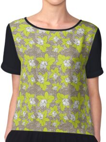 green orchids on brown background Chiffon Top