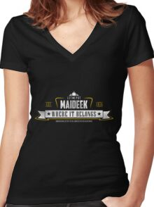 Let me put Maideek where it belongs (alt color) Women's Fitted V-Neck T-Shirt