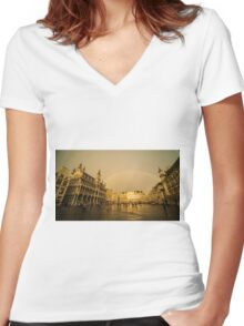 Rainbow over Le Grand Place  Women's Fitted V-Neck T-Shirt