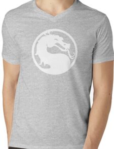 White Dragon Mens V-Neck T-Shirt