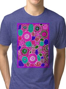 """""""PINK PASSION"""" Abstract Flower Print Tri-blend T-Shirt"""