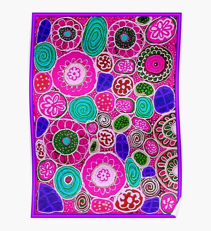 """PINK PASSION"" Abstract Flower Print Poster"