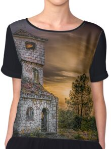 A haunted house at night in the Andalusian countryside Chiffon Top