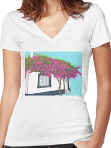 A little house in Portugal Women's Fitted V-Neck T-Shirt