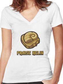 Praise Helix Fossil T-Shirt Twitch Plays Pokemon Women's Fitted V-Neck T-Shirt