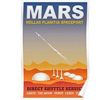 Mars Spaceport Sci-Fi Travel Illustration Poster