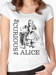 Curious as Alice, Alice in Wonderland Women's Fitted Scoop T-Shirt
