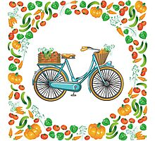 Postcard bike with a basket of vegetables Photographic Print