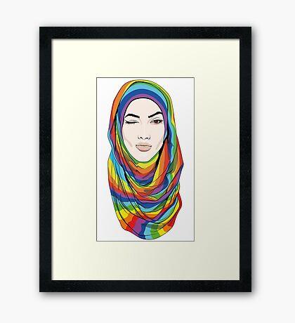 Rainbow Hijab Framed Print
