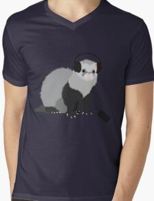 Funny Musical Ferret Mens V-Neck T-Shirt