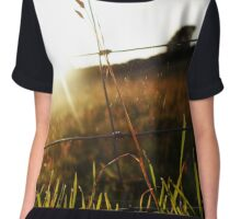 Sunset, fence and Spider Web Chiffon Top