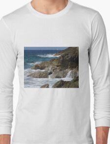 Rocky waterfalls of St. Maarten Long Sleeve T-Shirt