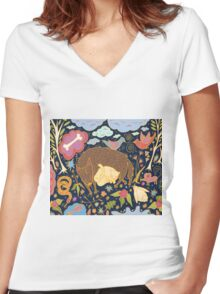 Forest Slumber Women's Fitted V-Neck T-Shirt