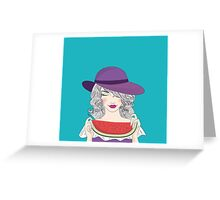 Beautiful young woman in had and watermelon Greeting Card