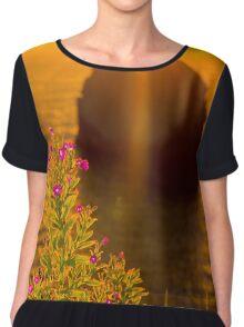 virgin rock with wild flowers sunset Chiffon Top