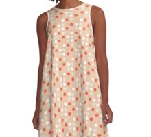 soft dots in coral A-Line Dress