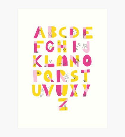 Hide and Seek Alphabet print Art Print