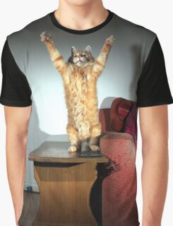 Ginger cat playing with toy mouse Graphic T-Shirt