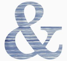 Letter & Ampersand Blue Watercolor Stripes Monogram Initial One Piece - Short Sleeve