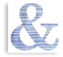 Letter & Ampersand Blue Watercolor Stripes Monogram Initial Canvas Print