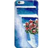 Flowers on Blue Steps iPhone Case/Skin