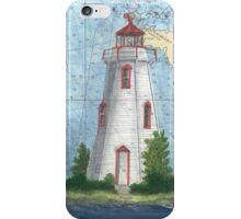 Tobermory Lighthouse Ontario Canada Nautical Chart Peek iPhone Case/Skin