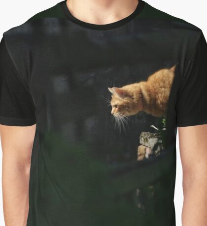 Ginger cat hunting in garden Graphic T-Shirt