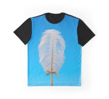 white feather on blue Graphic T-Shirt