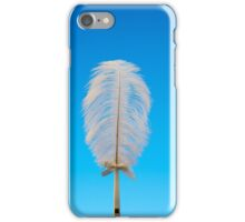 white feather on blue iPhone Case/Skin