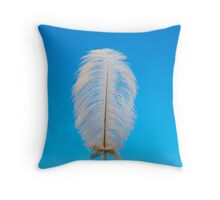 white feather on blue Throw Pillow